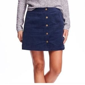 Old Navy Blue Faux Suede Button Mini Skirt 0